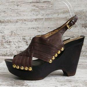 ⚃Michael Kors Leather Studded Sandal Wood Heel